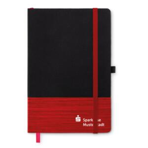 Notizbuch mit linierten Seiten und Stiftschlaufe