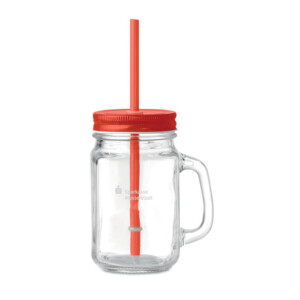 Trinkglas mit Griff und Schraubverschluss